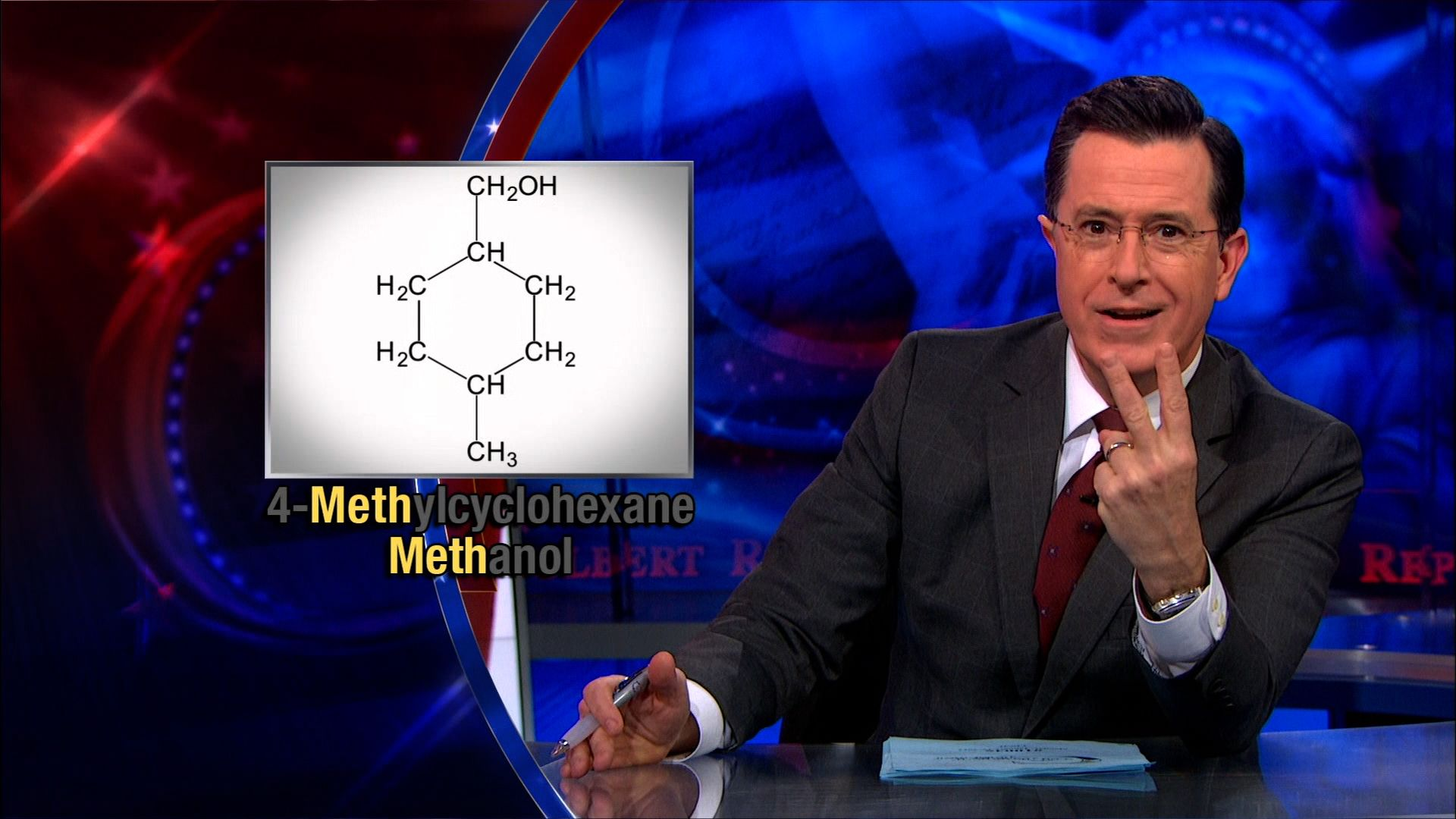 Stephen Colbert and chemical molecule